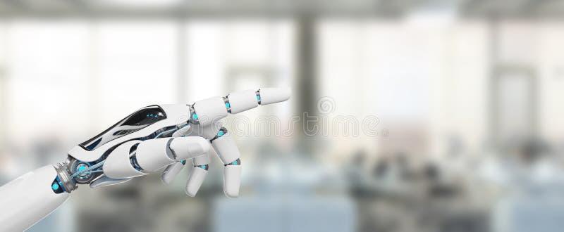 Cyborg blanco que señala su representación del finger 3D libre illustration