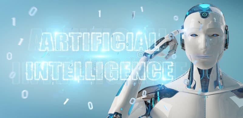 Cyborg blanco que usa el holograma digital del texto de la inteligencia artificial