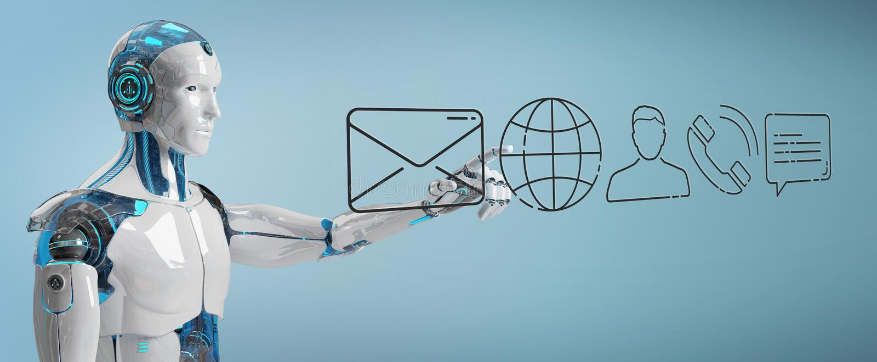 Cyborg blanco que usa la línea fina icono del contacto stock de ilustración