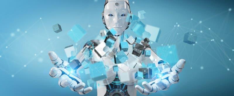 Cyborg blanco que usa la representación digital azul de la estructura 3D del cubo libre illustration