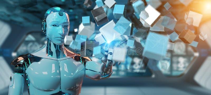 Cyborg blanco que usa la representación digital azul de la estructura 3D del cubo ilustración del vector