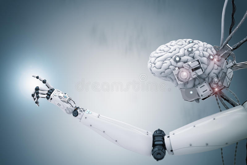 Cyborg brain working royalty free stock images