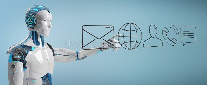 Cyborg branco que usa a linha fina ícone do contato ilustração stock