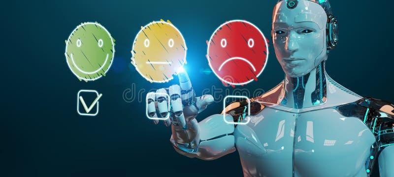 Cyborg branco que usa a linha fina avaliação de satisfação do cliente ilustração do vetor