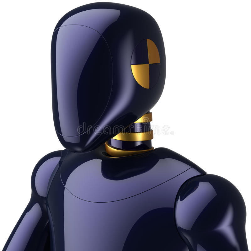 Cyborg character crash test dummy. Deep blue metallic. Experimental doll robot futuristic astronaut concept. This is a high quality detailed 3D render. Isolated stock illustration