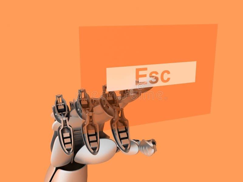 Cyborg che tocca il tasto di ESC illustrazione di stock