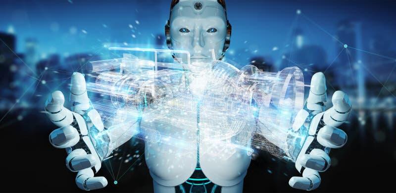 Cyborg che usando la proiezione digitale olografica 3D del wireframe di una e illustrazione di stock