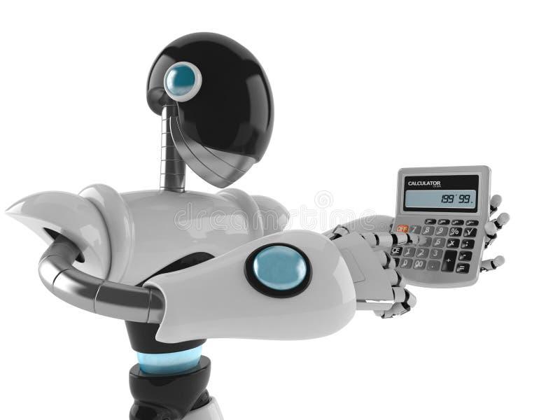 Cyborg com calculadora ilustração stock