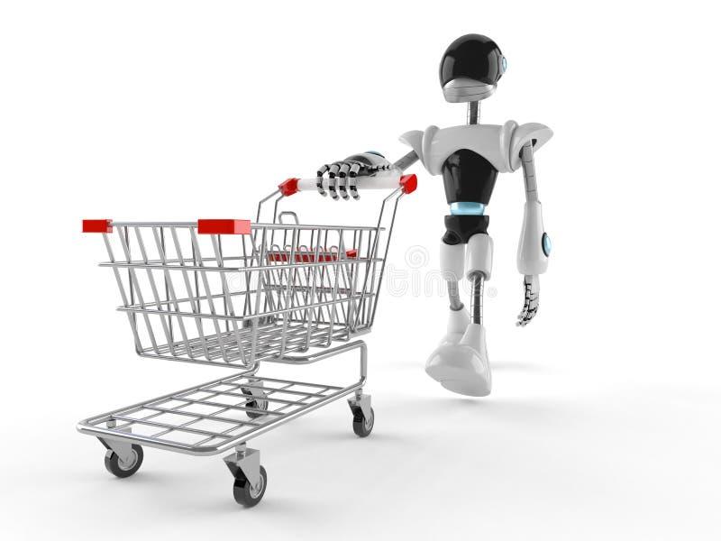Cyborg com carrinho de compras ilustração stock