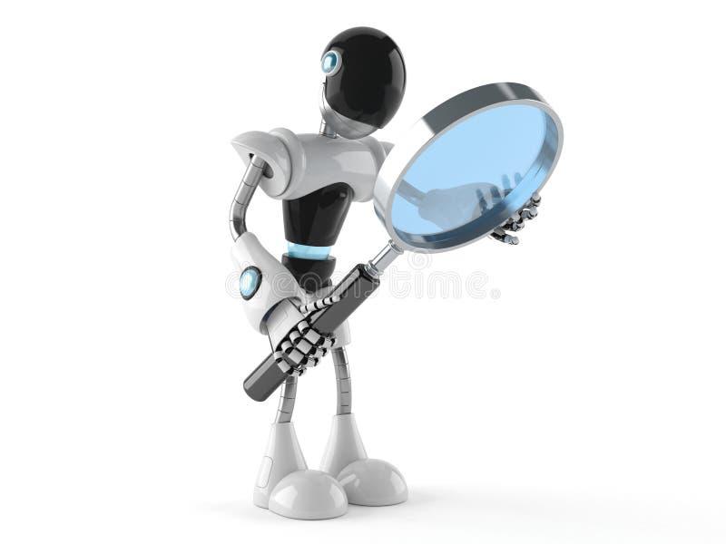 Cyborg com lupa ilustração stock