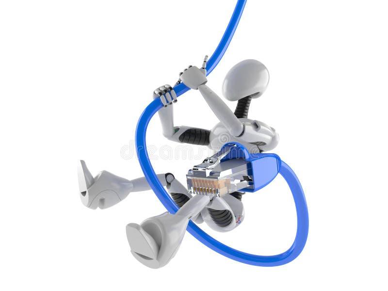 Cyborg con el cable de Internet ilustración del vector