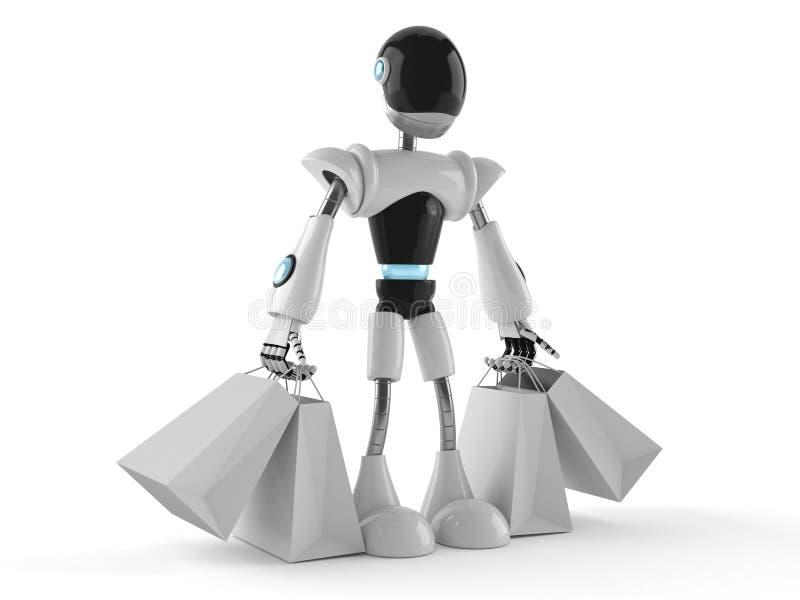 Cyborg con i sacchetti della spesa royalty illustrazione gratis