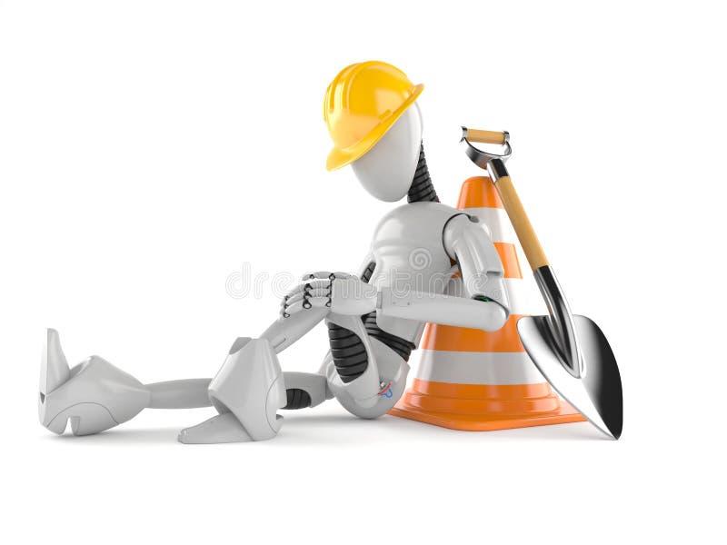Cyborg con il cono di traffico illustrazione di stock