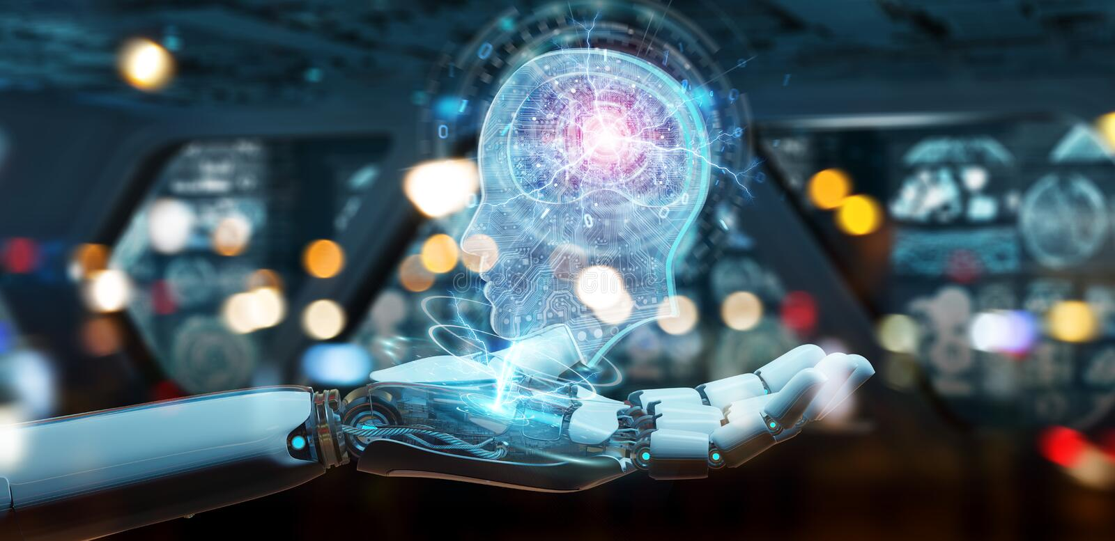 Cyborg creating artificial intelligence 3D rendering. Cyborg on blurred background creating artificial intelligence 3D rendering stock illustration