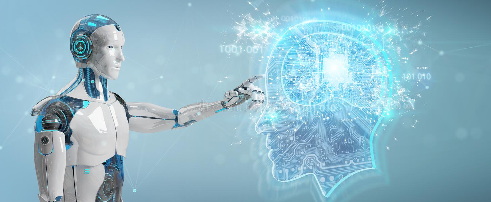 Cyborg creating artificial intelligence 3D rendering. Cyborg on blurred background creating artificial intelligence 3D rendering royalty free illustration