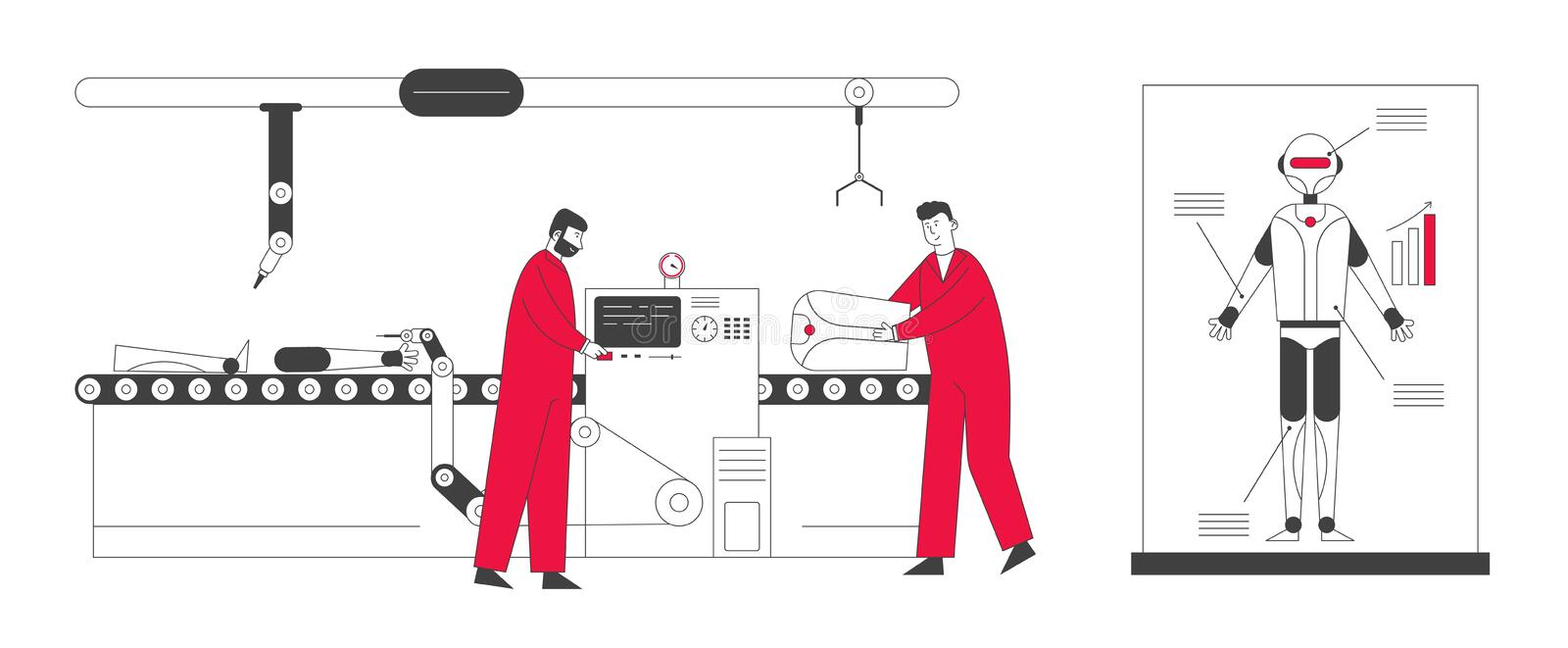 Cyborg Creating Process in Laboratory. Engineers Characters Set Up Parts of Robot on Conveyor Belt. Artificial Intelligence Develop and Assembly Technology stock illustration