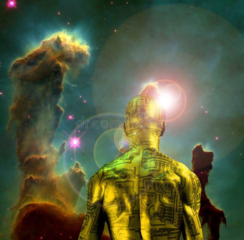 Cyborg dans l'espace illustration de vecteur