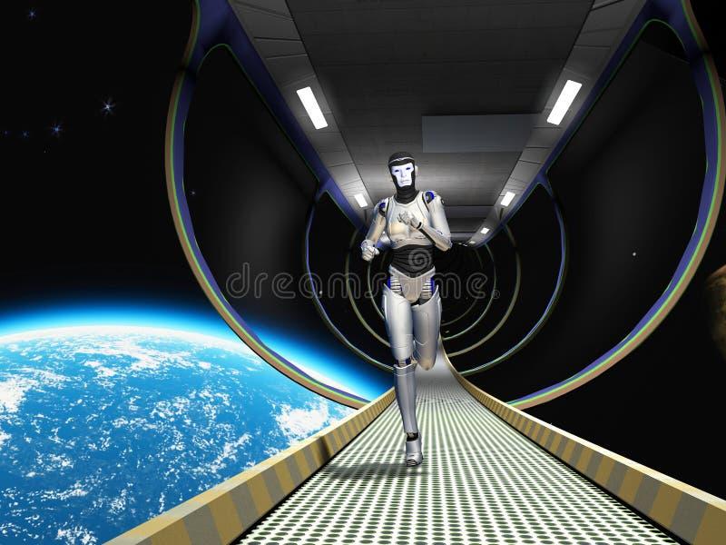 Cyborg dans l'espace illustration libre de droits