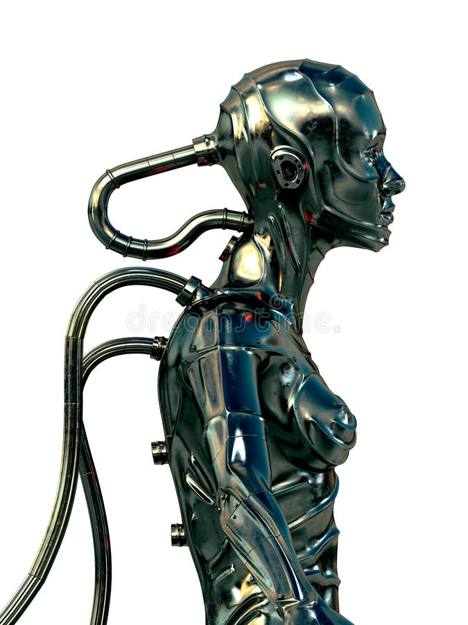 Cyborg de aço à moda ilustração stock