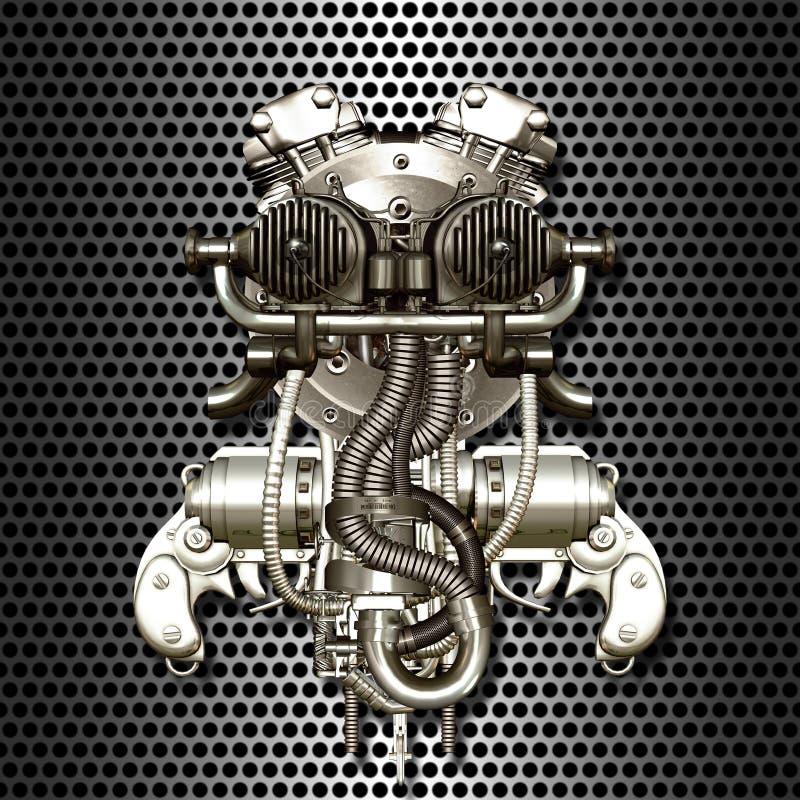 Cyborg de deux cylindres illustration de vecteur