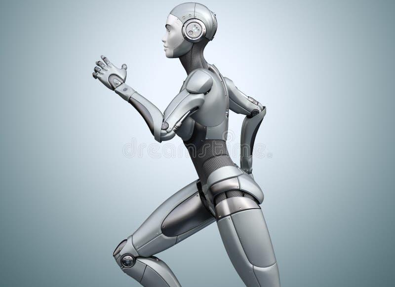 Cyborg de funcionamiento en fondo brillante stock de ilustración