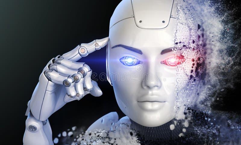 Cyborg de pensamiento stock de ilustración