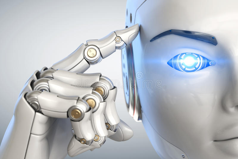 Cyborg de pensamiento Cierre para arriba ilustración del vector