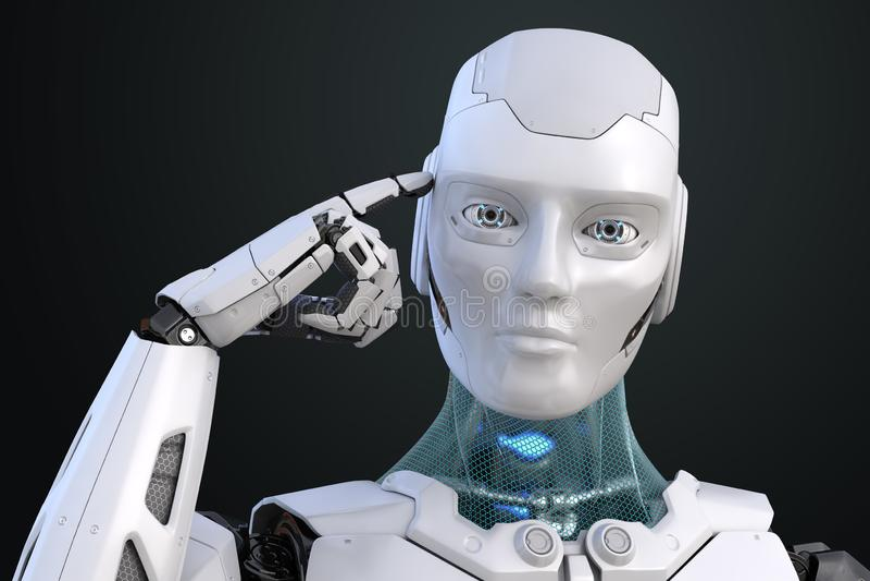 Cyborg de pensamiento El robot sostiene un finger cerca de la cabeza ilustración del vector