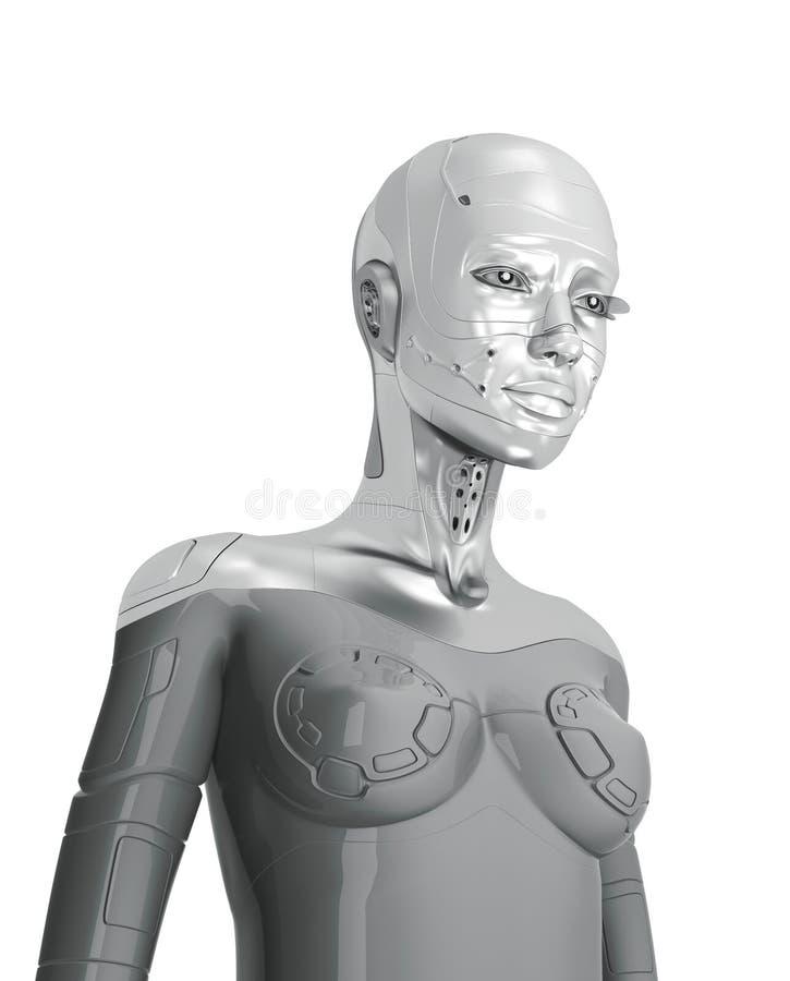 Cyborg de plata femenino stock de ilustración