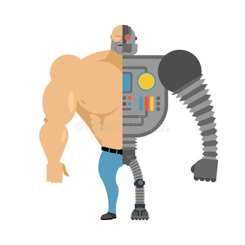 cyborg Demi robot à moitié humain Homme avec de grands muscles et fer lim illustration de vecteur