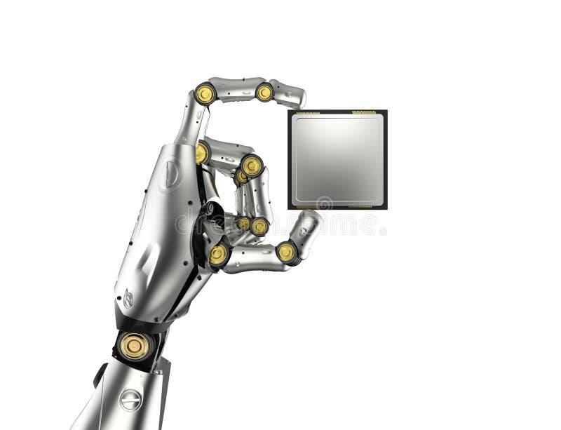 Cyborg, der CPU Chip hält stock abbildung