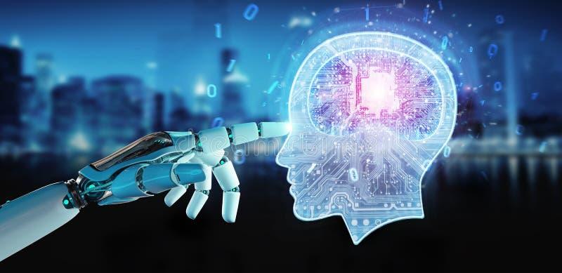 Cyborg, der Wiedergabe der künstlichen Intelligenz 3D schafft stock abbildung