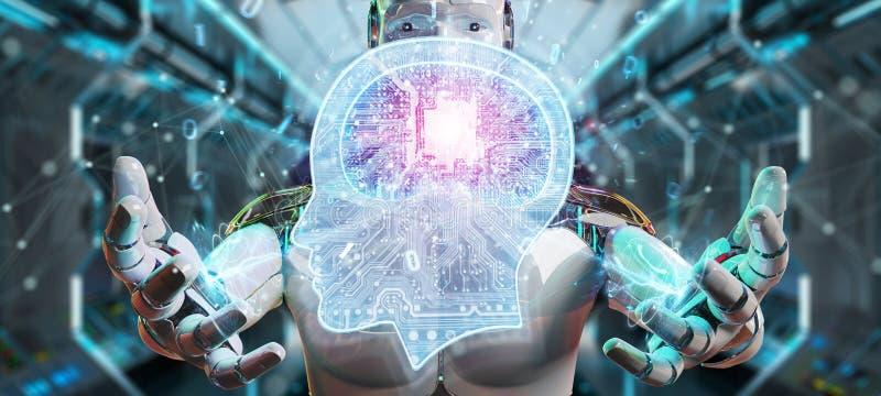 Cyborg, der Wiedergabe der künstlichen Intelligenz 3D schafft vektor abbildung