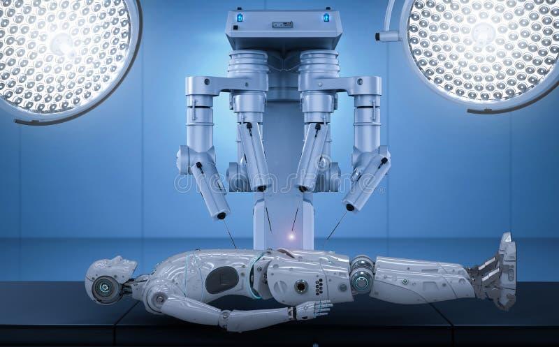 Cyborg di ai di manutenzione della chirurgia del robot illustrazione di stock