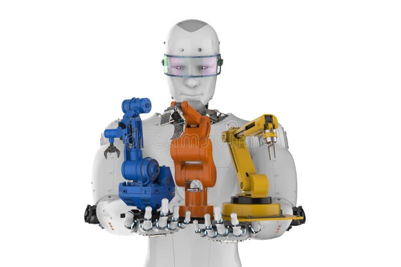 Cyborg die drie robotwapens houden vector illustratie