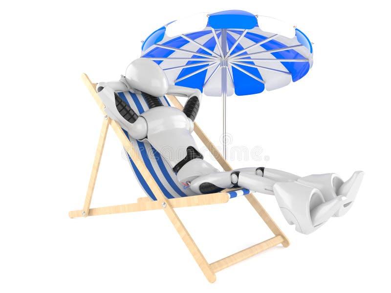 Cyborg die od ligstoel rusten stock illustratie
