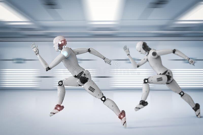 Cyborg die snel lopen vector illustratie