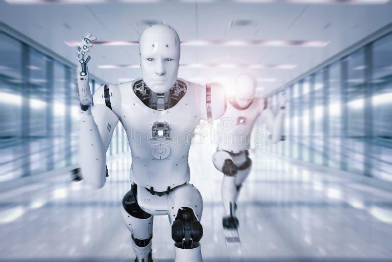 Cyborg die snel lopen royalty-vrije illustratie