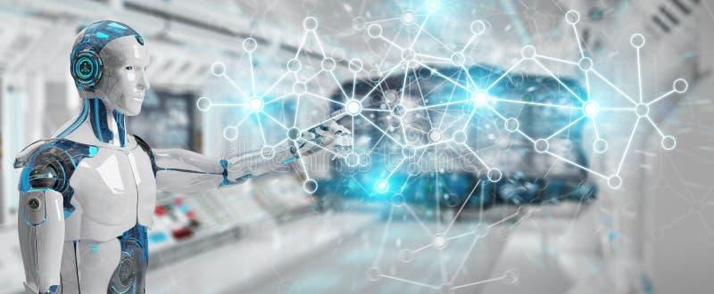 Cyborg do homem branco que usa a rendição da conexão de rede digital 3D ilustração stock