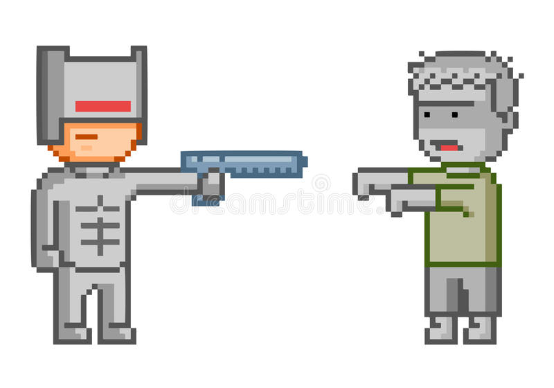 Cyborg e zombie del pixel di vettore per il gioco illustrazione vettoriale