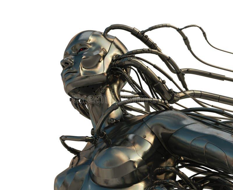 Cyborg en acier élégant illustration de vecteur