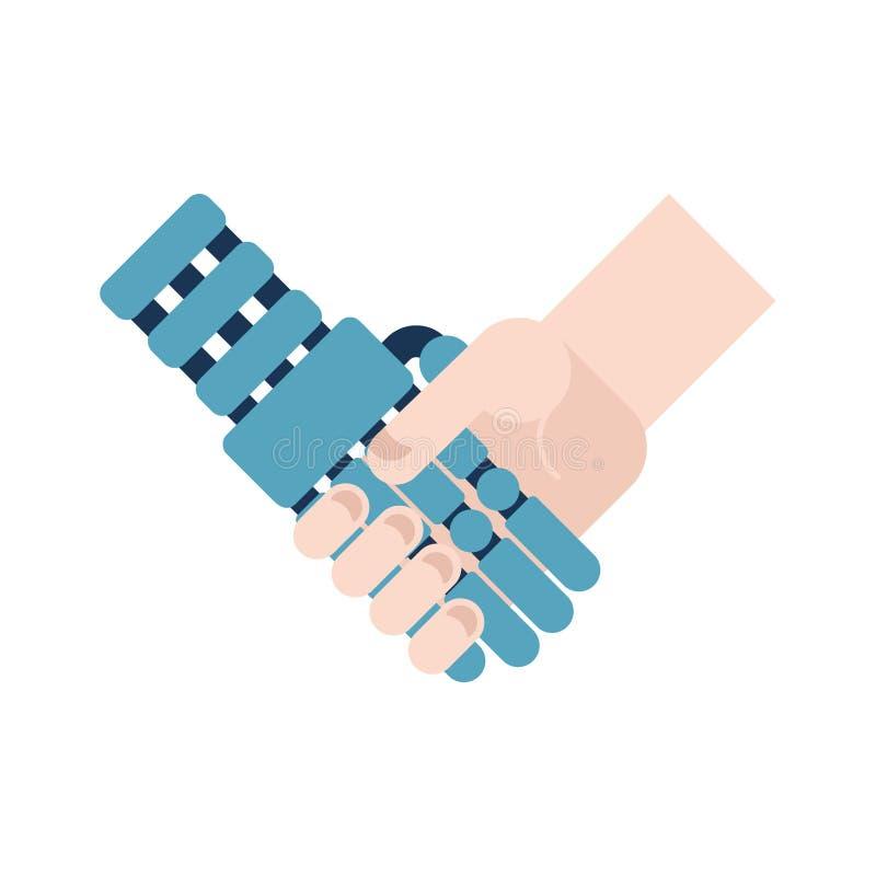Cyborg en mensen geïsoleerde handdruk Kunstmatige intelligentie Vect vector illustratie