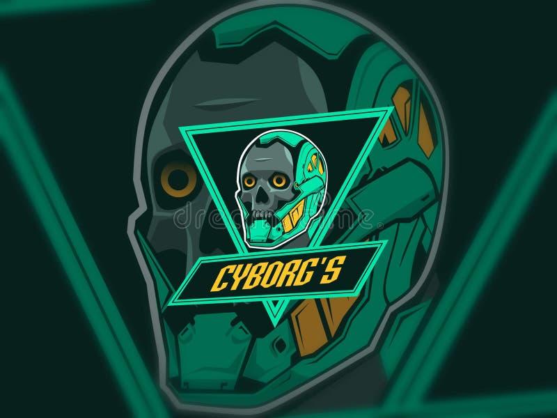 Cyborg esport logo design green color stock image
