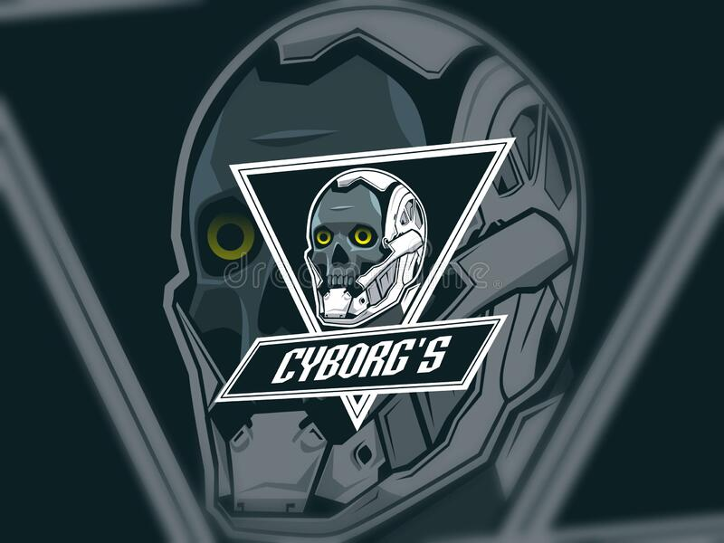 IIllustration of skull cyborg esport logo design stock image