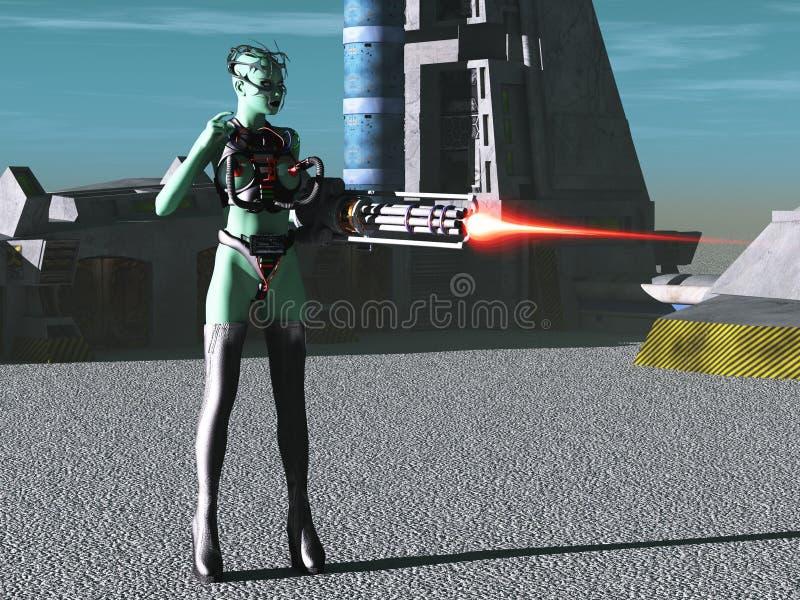 Cyborg fêmea estrangeiro ilustração do vetor