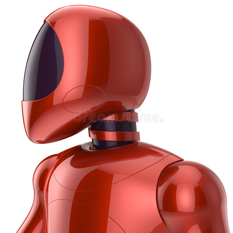 Cyborg futuristic bot robot sci-fi model concept red vector illustration