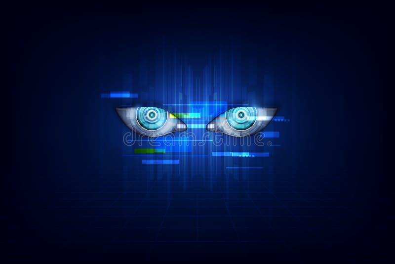 Cyborg głowa używa sztuczną inteligencję tworzyć cyfrowego interfejs również zwrócić corel ilustracji wektora royalty ilustracja
