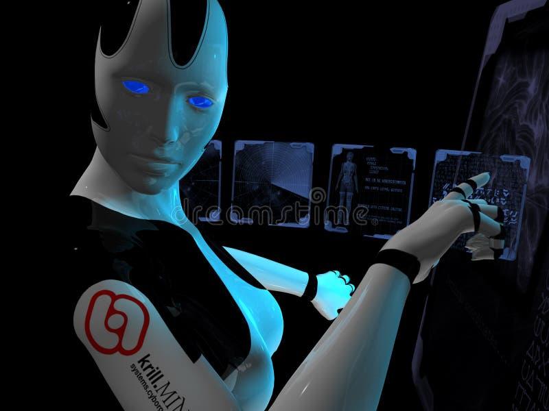 Cyborg gebruikend holografische computer stock illustratie
