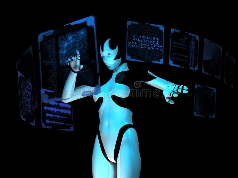 Cyborg gebruikend holografische computer royalty-vrije illustratie