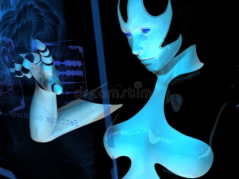 Cyborg gebruikend holografische computer vector illustratie